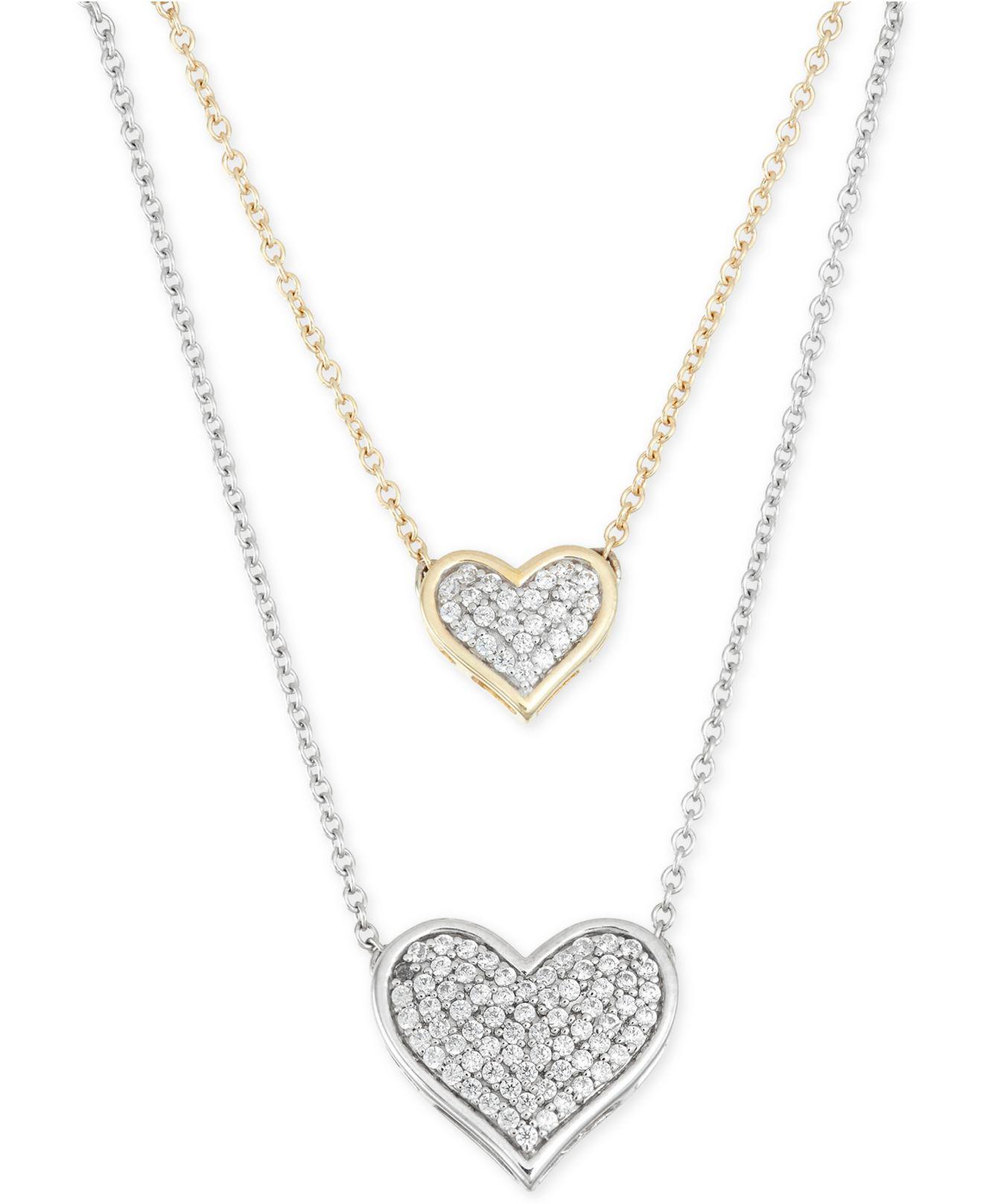 Macy S Diamond Double Heart Pendant Necklace 1 4 Ct T W