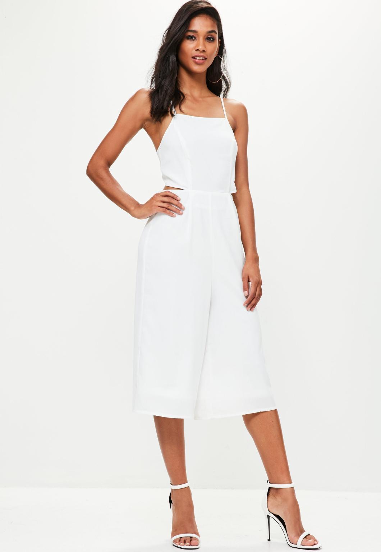 a4e048b383ea Lyst Missguided White Tie Back Culottes Jumpsuit In. Miss Selfridge Women S  Black Wrap ...