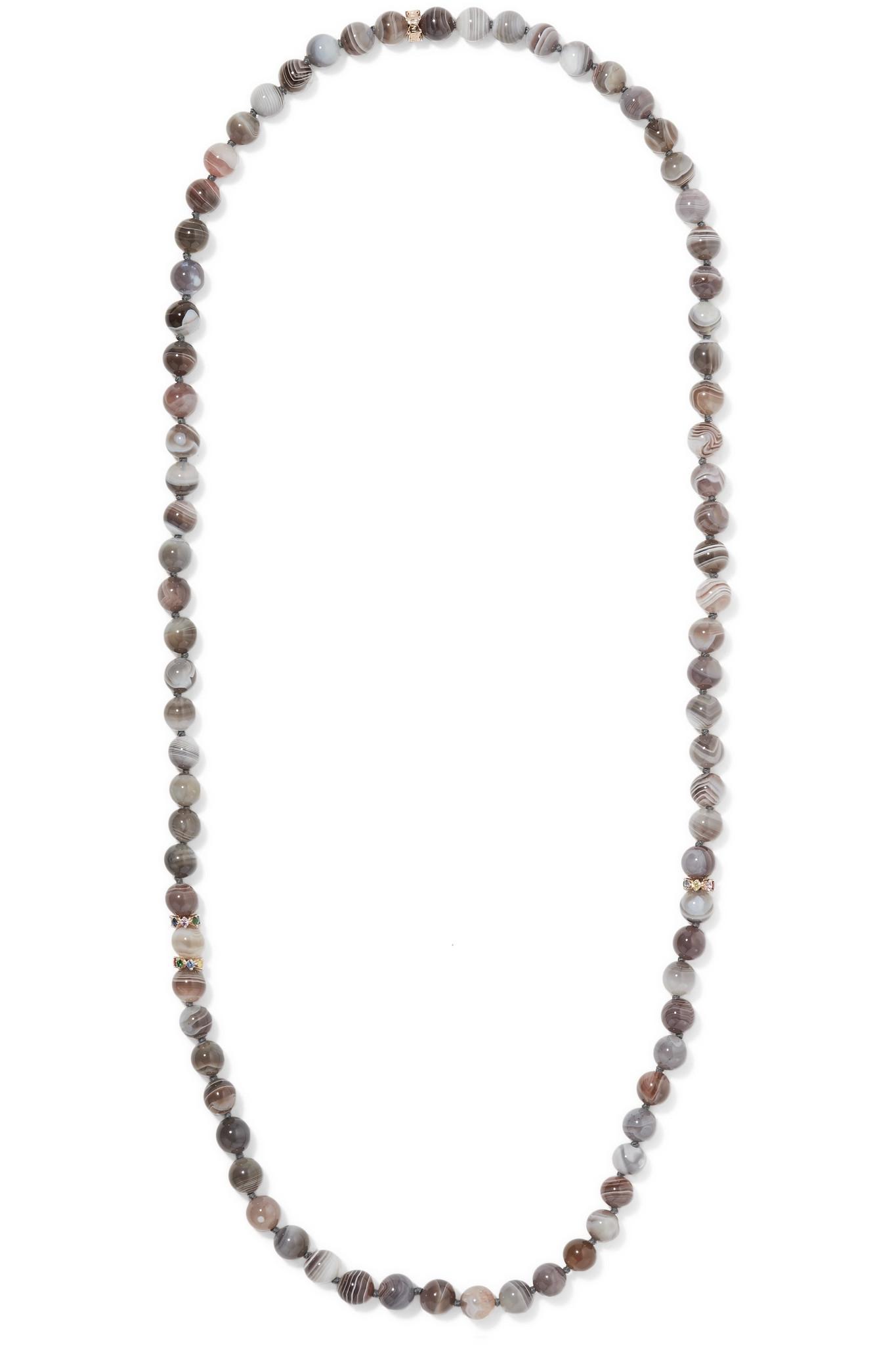 Carolina Bucci Recharmed Multi Stone Necklace In Metallic