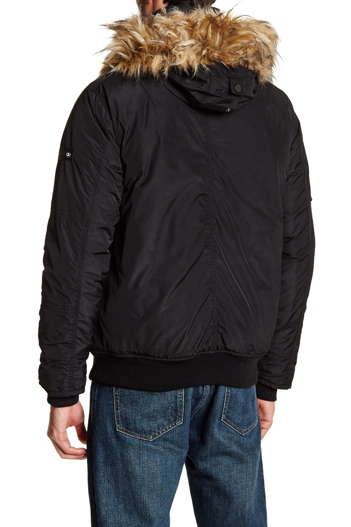 Lyst Ben Sherman Detachable Faux Fur Trim Hooded Bomber