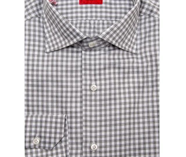 Isaia Mens Gray Grey Gingham Dress Shirt