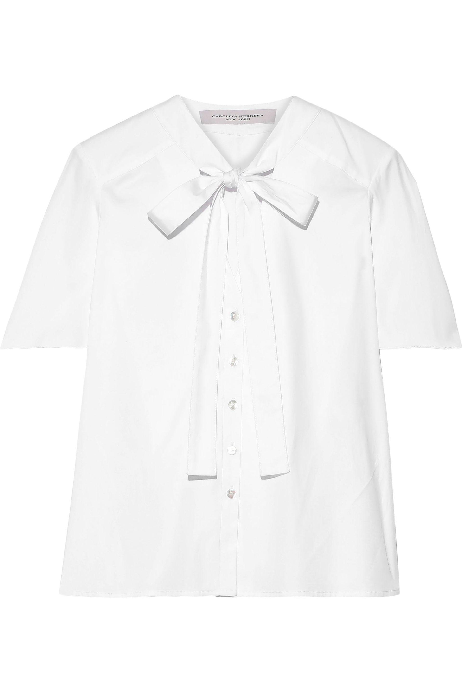 Carolina Herrera Bow Cotton Blend Shirt White In