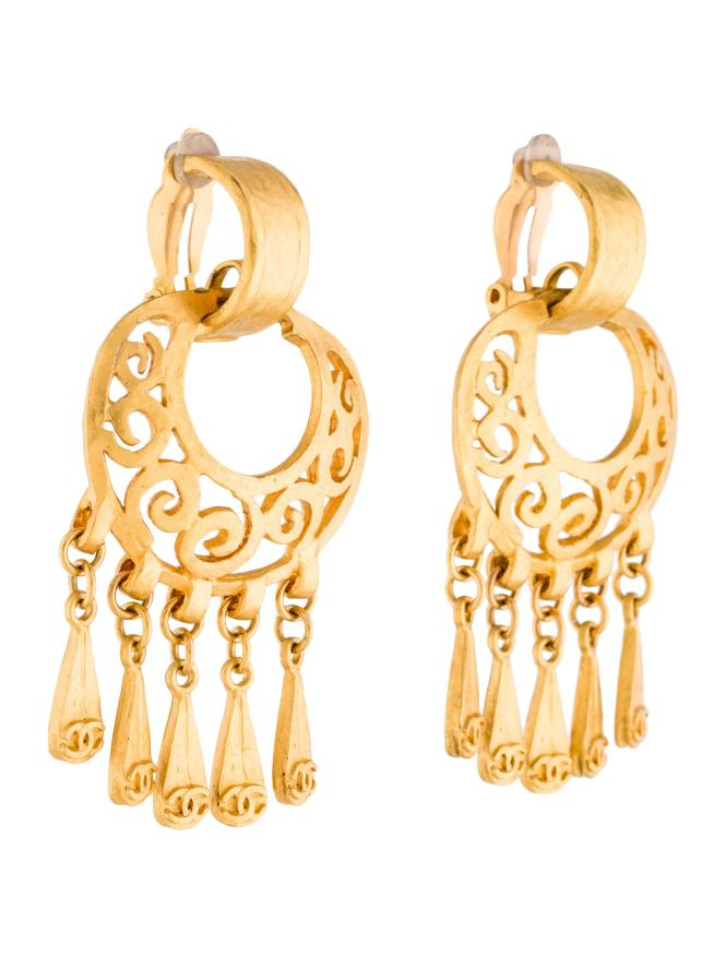 Chanel Chandelier Earrings Gold In Metallic Lyst