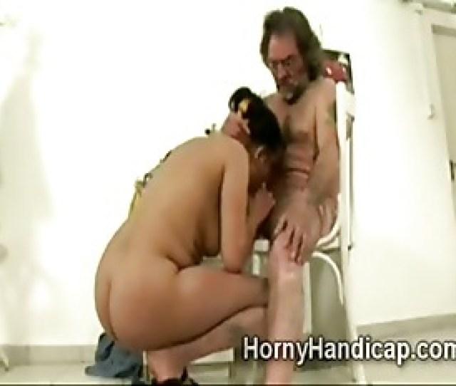 Chubby Teen Girl Sucks Handicapped Mans Hard Cock