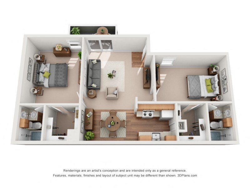 Floor Plans of Riverchase Apartments in Tulsa  OK Two Bedroom A Floor Plan 1