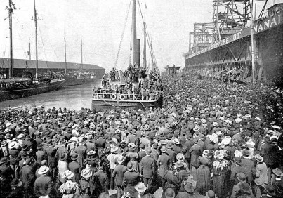Step Two: Round up a year's supply of food, (required by the North West Mounted Police to prevent starvation), and then get on a ship destined for the ports of Dyea or Skagway in Southeast Alaska. The Excelcior left San Francisco for the Klondike on July 28, 1897 and was the first steamer to carry American passengers (350 in total with 800 tonnes of supplies) to the Klondike after news of the discovery of gold broke.
