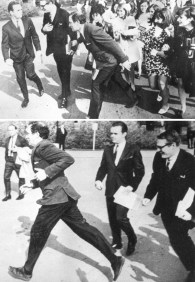 "Life was pretty good for Pierre Trudeau in 1968. His widespread popularity, accelerated by his federal campaign run, was dubbed ""Trudeaumania"" and it lasted for a few years. In these two pictures, Trudeau is running away from some overzealous fans."