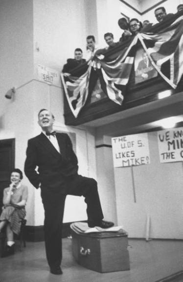 Lester B. Pearson campaigning during the 1958 election. His Liberal party lost to Diefenbaker's Conservatives.