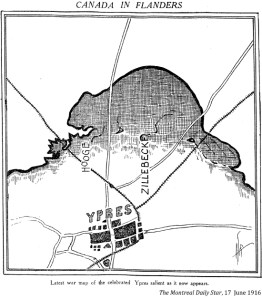 A map of Ypres surrounded by the shadow of a beaver