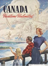 "The Canadian Government Travel Bureau used the slogan ""Canada Vacations Unlimited"" on a number of their ads."
