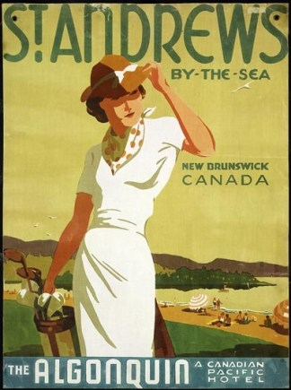 Norman Fraser, like Peter Ewart, was another artist whose work shaped the Canadian travel ad industry. This ad showcases both golf and the Algonquin Hotel in St. Andrew's, New Brunswick.
