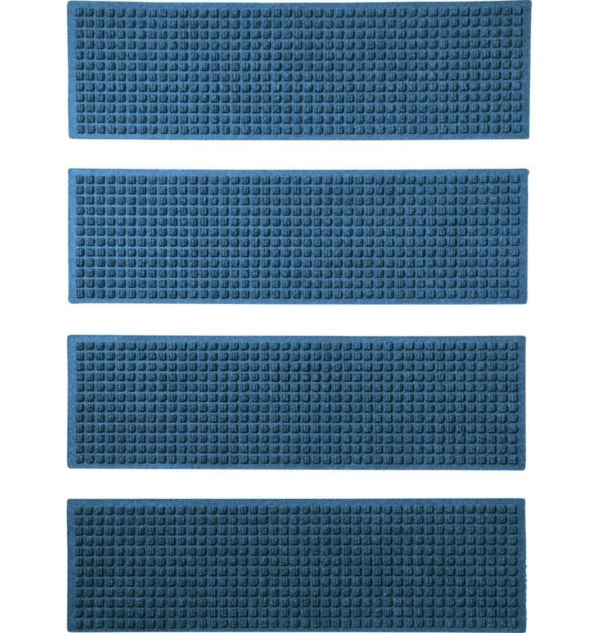Everyspace Recycled Waterhog Mat Stair Treads Set Of Four | 36 Inch Carpet Stair Treads | Basement Stairs | Slip Resistant | Coffee Brown | Diamond Trellis | Bullnose Carpet