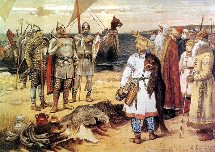 Позивање Варјага: Рјурик и његова браћа долазе у Стару Ладогу, Виктор Васњецов.