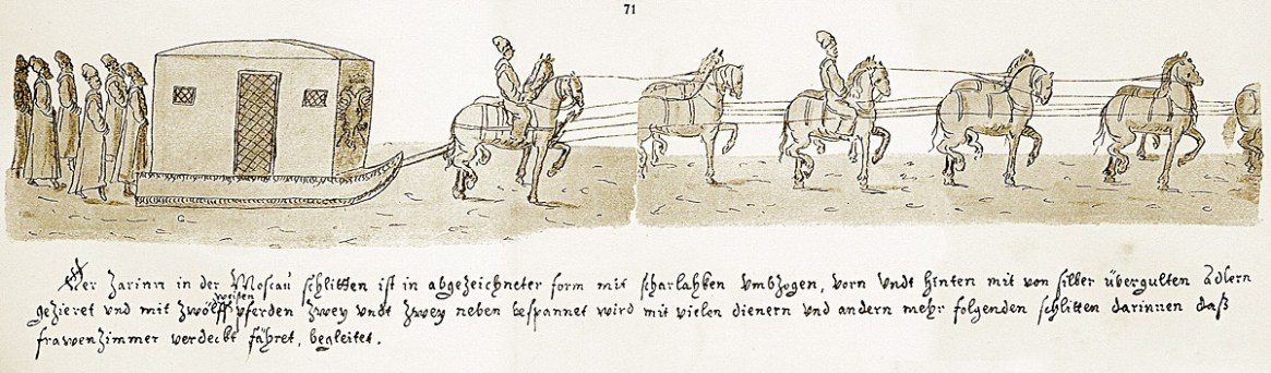 Tsarina's winter carriage and suite, a 17th-century engraving.