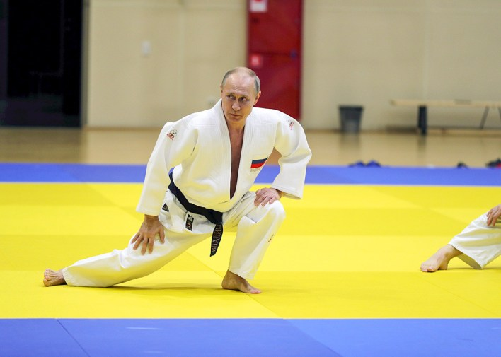 Russian President Vladimir Putin attends a judo training session at the Yug-Sport sport and training complex in the Black sea resort of Sochi, Russia, February 14, 2019