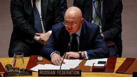 El representante permanente de Rusia ante la ONU, Vasili Nebenzia, en Nueva York, EE.UU., el 17 de noviembre de 2017.