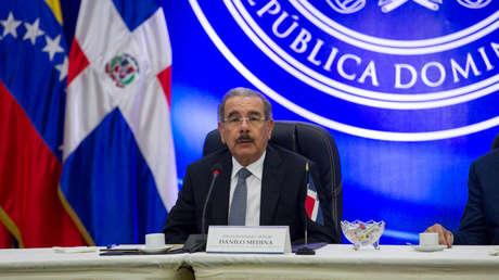 El presidente dominicano, Danilo Medina, durante una conferencia de prensa, en Santo Domingo, República Dominicana, el 7 de febrero de 2018.