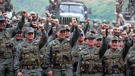 El ministro de Defensa de Venezuela, Padrino Lopez, junto a otros militares. Caracas, 14 de agosto de 2017.