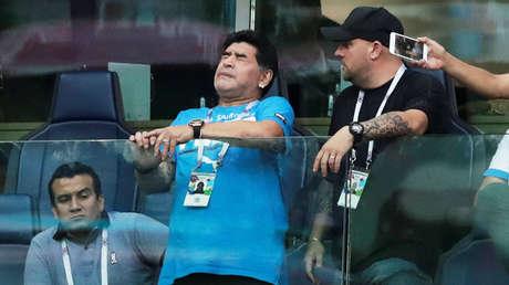 Diego Maradona durante el partido entre Nigeria y Argentina, en el estadio de San Petersburg, en Rusia, el 26 de junio de 2018.