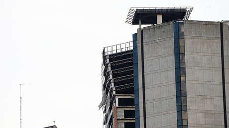 Imagen de la parte superior del rascacielos Torre de David, después del temblor. Caracas el 21 de agosto de 2018.