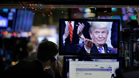 An image of Trump on a computer at the New York Stock Exchange, USA, on December 24, 2018.