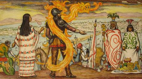 La Malinche con Hernán Cortés.