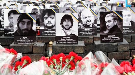 Mitglieder der so genannten Himmlischen Hundertschaft - die Märtyrer der modernen Ukraine; 20. Februar 2015.