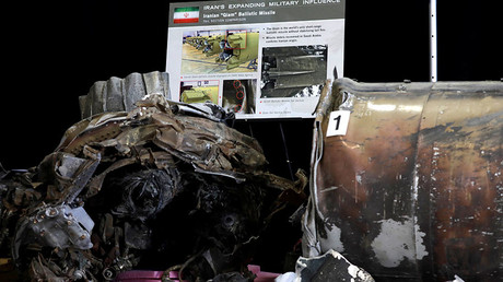 Remains of an Iranian ballistic missile provided by Pentagon displayed during US Ambassador to the UN Nikki Haley's media briefing in Washington, US, December 14, 2017 © Yuri Gripas
