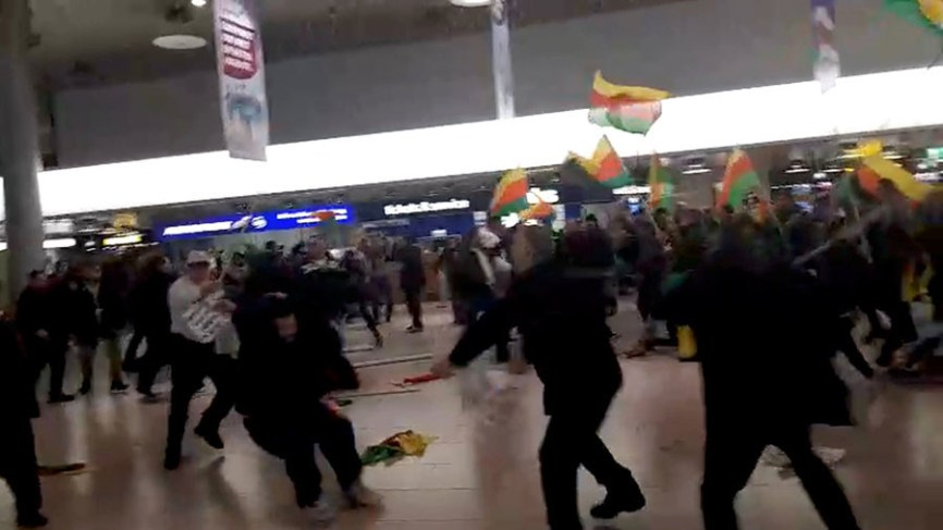Image result for Kurds, Turks clash in Hannover Airport
