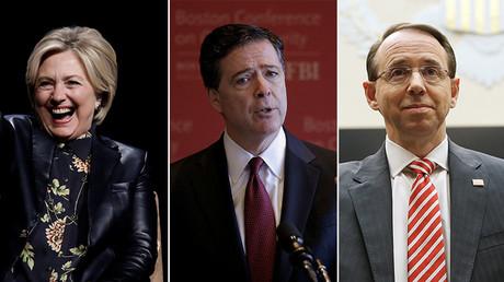 Hillary Clinton, Former FBI Director James Comey (C), U.S. Deputy Attorney General Rod Rosenstein (R) ©Reuters
