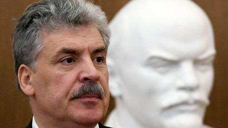 Russian presidential candidate Pavel Grudinin meets with voters at the Lenin Palace of Culture in Kazan © Maksim Bogodvid