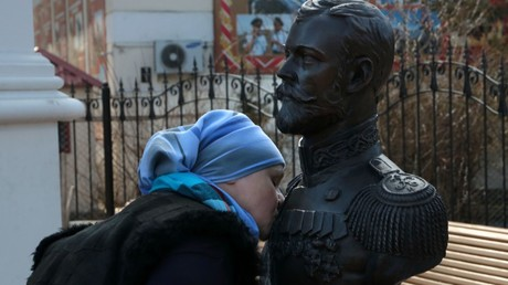 A bronze bust of Emperor Nicholas II near the Chapel of Royal Martyrs in the center of Simferopol © Maks Vetrov