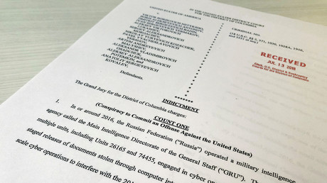 A copy of the grand jury indictment against 12 Russian intelligence officers © Jim Bourg