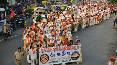 5bc5ff31fc7e93ad228b4585 Thousands protest against menstrual-age women accessing Hindu temple in India (PHOTOS, VIDEO)