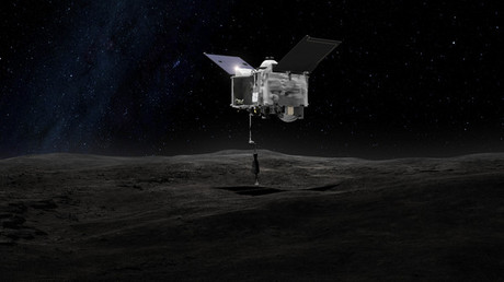 Artist's rendering of OSIRIS-REX deploying its Touch-And-Go Sample Arm Mechanism. © NASA's Goddard Space Flight Center