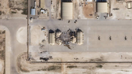 This satellite image released by Planet Labs Inc. reportedly shows damage to the Ain Al-Asad US airbase in western Iraq, after being hit by rockets from Iran, January 8, 2020.