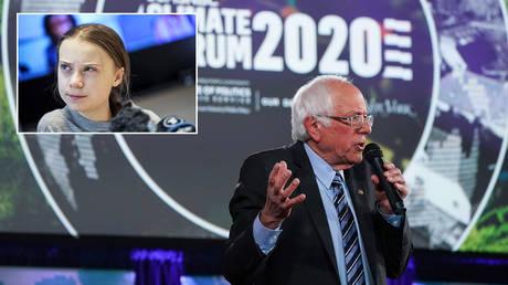 "FILE PHOTO. Bernie Sanders participates in the ""Climate Forum 2020"" in Washington. ©REUTERS / Sarah Silbiger; Greta Thunberg © REUTERS/TT News Agency/Pontus Lundahl"