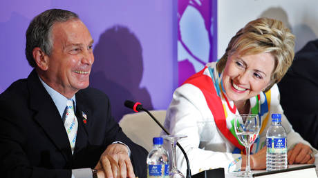 FILE PHOTO: Michael Bloomberg and Hillary Clinton in Singapore, July 2005.