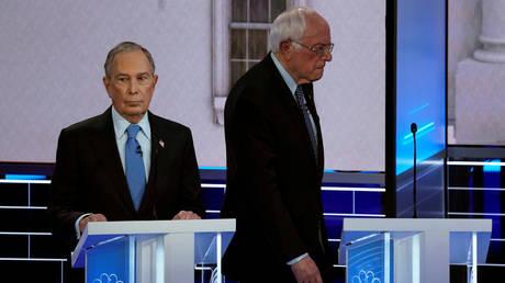 FILE PHOTO: Senator Bernie Sanders and Mike Bloomberg in Las Vegas, Nevada, February 19, 2020