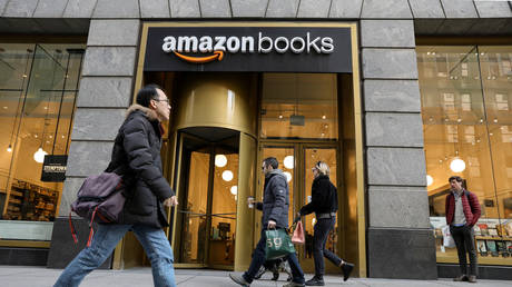 People walk past an Amazon Books retail store in New York City