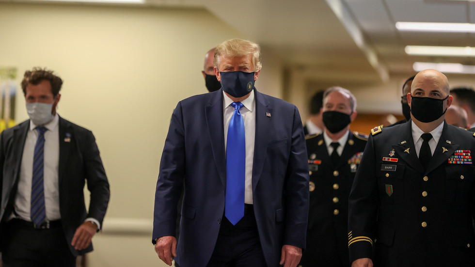 Photo of 'Hannibal Lecter or Darth Vader'? Trump wears mask in public for 1st time, providing meme fodder for critics