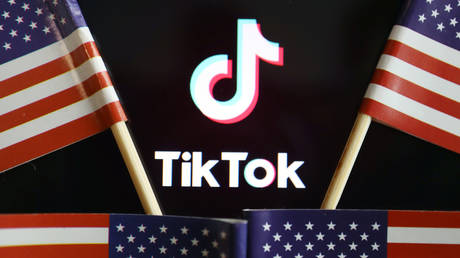 US flags are seen near a TikTok logo © Reuters / Florence Lo