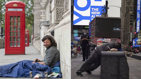 (L) A homeless man in the Westminster area under lockdown on April 27, 2020 in London, UK during the coronavirus pandemic. © Icon Sportswire via Getty Images/Erica Dezonne/PxImages (R) Homeless man sleeps standing in Times Square, September, 25 2020 © Mitchell Feierstein