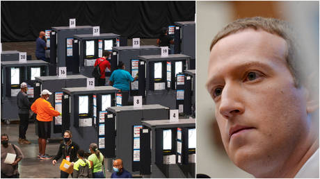 FILE PHOTOS: (L) People cast their ballots during early voting for the upcoming presidential elections in Atlanta, Georgia; (R) Facebook CEO Mark Zuckerberg testifies at a House hearing in Washington, DC.