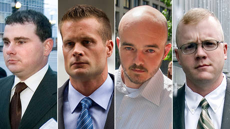 This combination made from file photo shows Blackwater guards, from left, Dustin Heard, Evan Liberty, Nicholas Slatten and Paul Slough. © AP Photo