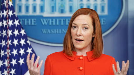 FILE PHOTO: White House Press Secretary Jen Psaki holds a press briefing at the White House in Washington, U.S., January 26, 2021
