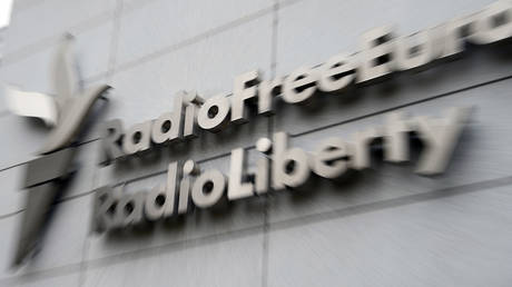 Signboard on the headquarters building of Radio Free Europe / Radio Liberty international organization in Prague. Russia may recognize several media outlets as foreign agents. © Sputnik