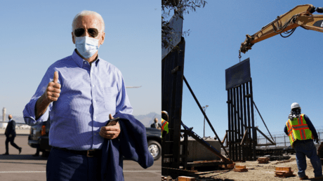 Joe Biden, seen alongside a section of border wall under construction in 2018 near Tijuana, Mexico © Reuters / Kevin Lamarque and Jorge Duenas