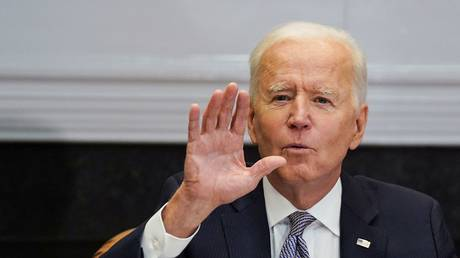 President Joe Biden is shown as he speaks at a virtual conference on April 12 from the White House.