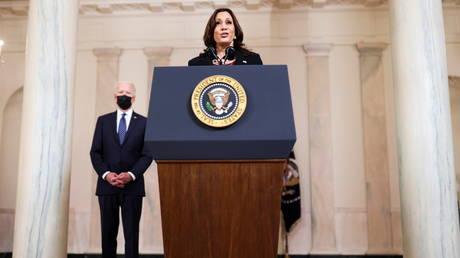 Vice President Kamala Harris and President Joe Biden speak at the White House, April 20, 2021.